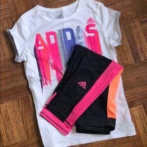 Adidas shirt and leggings matching set
